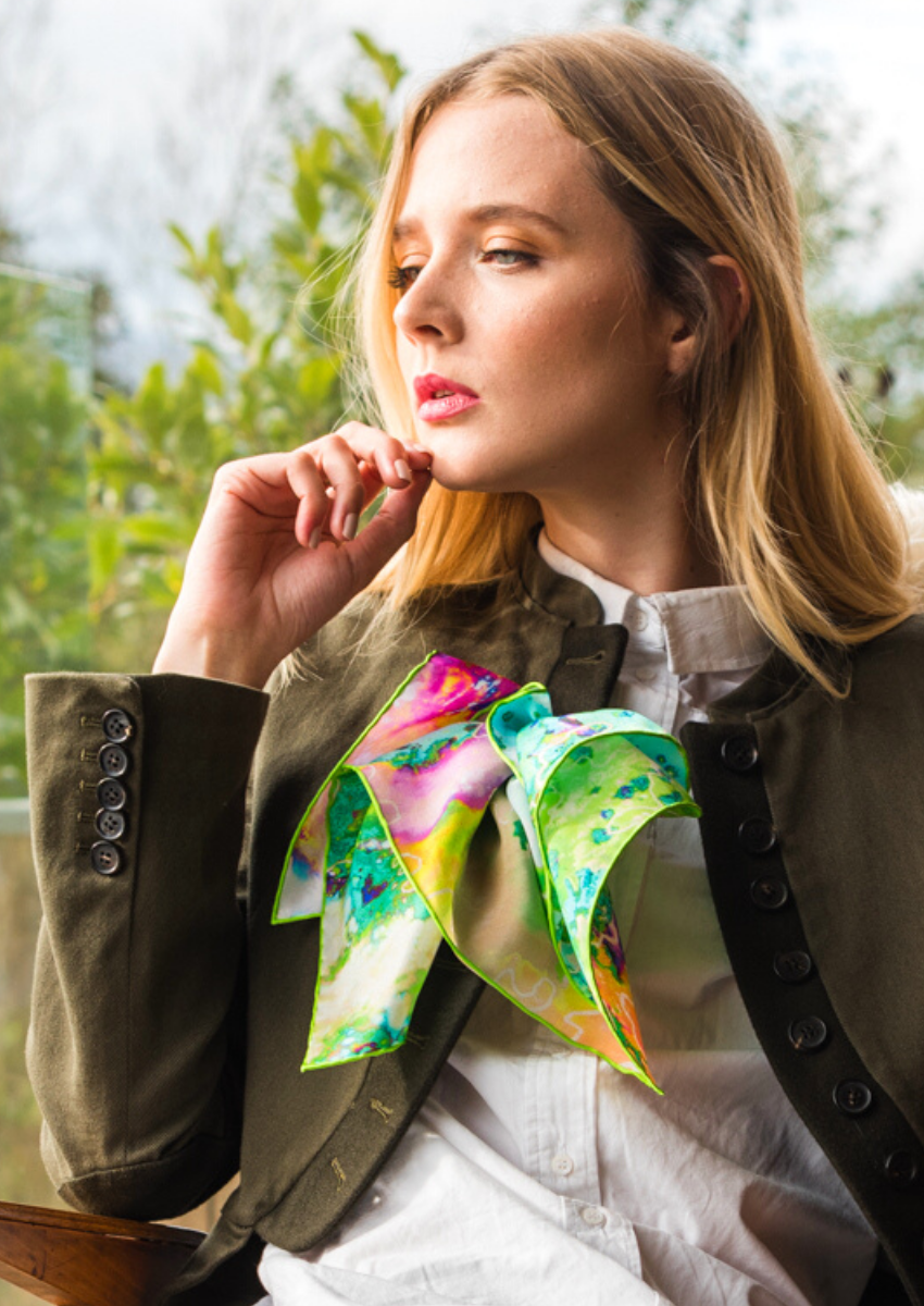 Lime and Pink small silk scarf