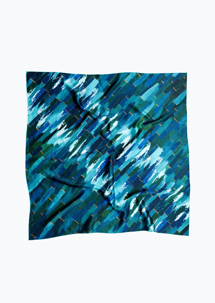 Dashed luxury silk scarf made in UK